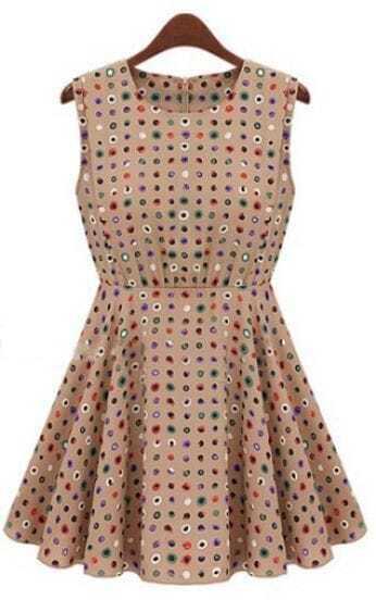 Khaki Sleeveless Polka Dot High Waist Skater Dress
