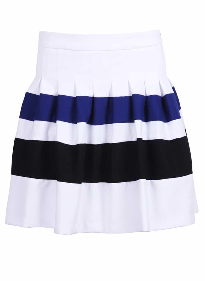 white contrast blue and black strips skirt shein sheinside
