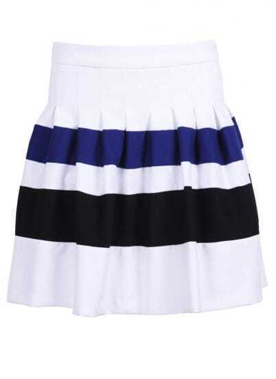 White Contrast Blue and Black Strips Skirt