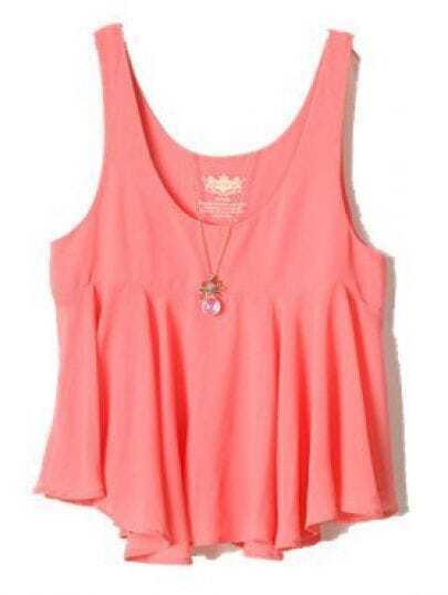 Pink Sleeveless Ruffles Chiffon Vest