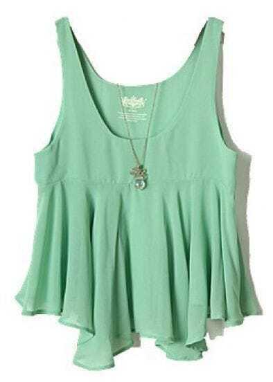 Green Sleeveless Ruffles Chiffon Vest
