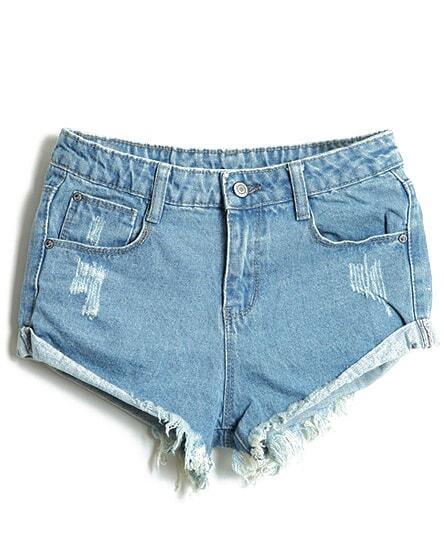 Light Blue Bleached Ripped Denim Shorts -SheIn(Sheinside)