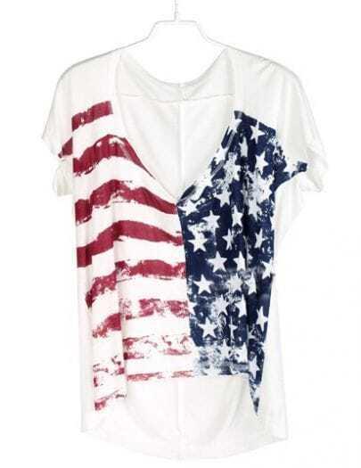 White Short Sleeve Striped Stars Print T-Shirt