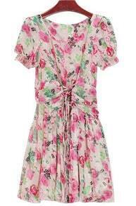 Beige Short Sleeve Bandeau Floral Chiffon Dress