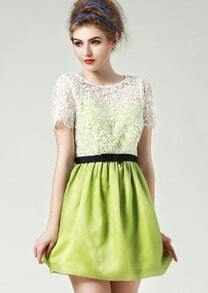 Green Short Sleeve Hollow Lace Flare Dress