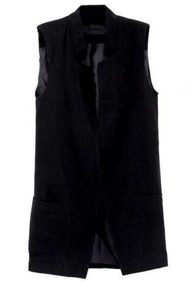 Black Sleeveless Shoulder Pads Blazers