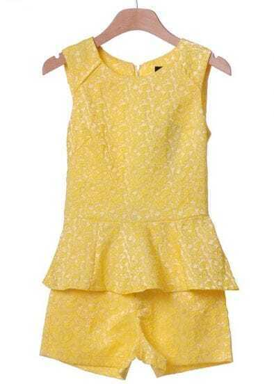 Yellow Sleeveless Embroidery Ruffles Blouse With Shorts