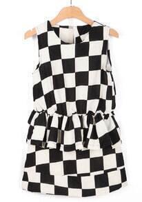 Black White Sleeveless Plaid Elastic Waist Blouse With Skirt