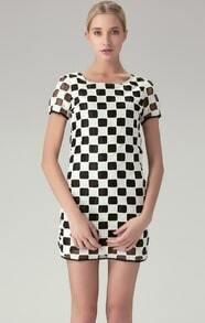 Black Short Sleeve Hollow Out Plaid Short Dress