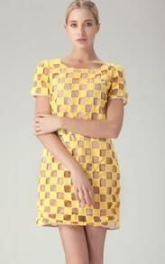 Yellow Short Sleeve Hollow Out Plaid Short Dress
