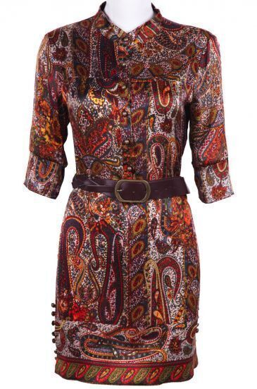 Khaki Long Sleeve Retro Print Silk Dress