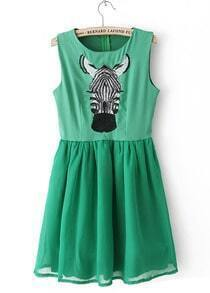 Green Sleeveless Horse Head Print Short Dress