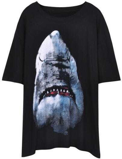 Black Short Sleeve Shark Print Loose T-Shirt