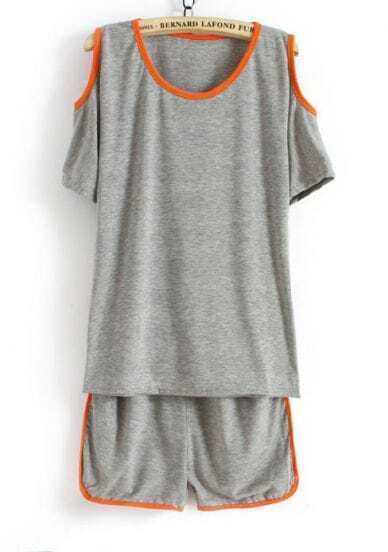 Grey Off the Shoulder Contrast Trims Blouse With Shorts