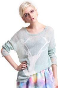 Light Blue Deer Distressed Long Sleeve Jumper