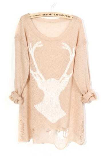 Khaki Deer Distressed Long Sleeve Jumper