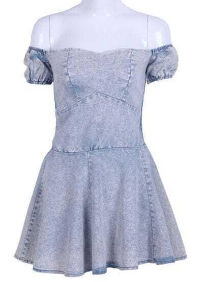 Light Blue Off the Shoulder Short Sleeve Denim Dress