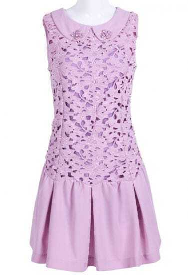 Purple Sleeveless Lace Rhinestone Pleated Dress