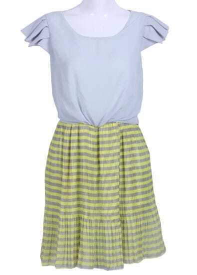 Green Short Sleeve Striped Pleated Chiffon Dress