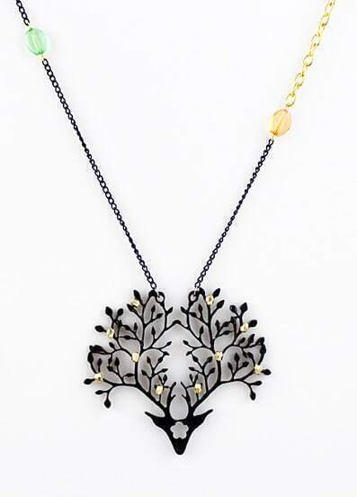 Black Gold Branches Chain Necklace
