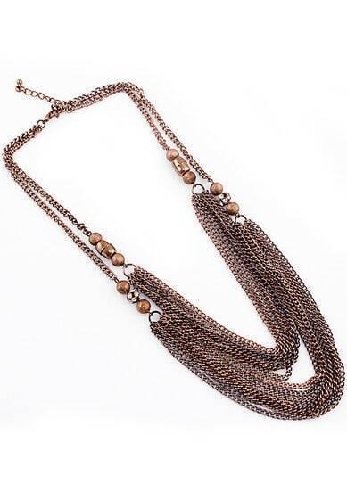 Retro Copper Bead Chain Tassel Necklace
