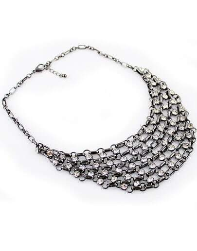 Retro Silver Crystal Chain Necklace