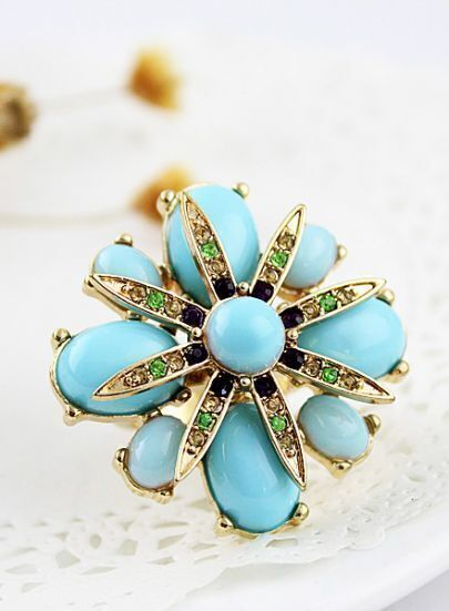 Blue Gemstone Gold Flower Ring