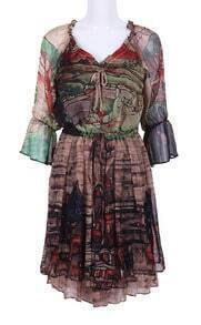 Green Khaki Long Sleeve Floral Drawstring Bow Dress