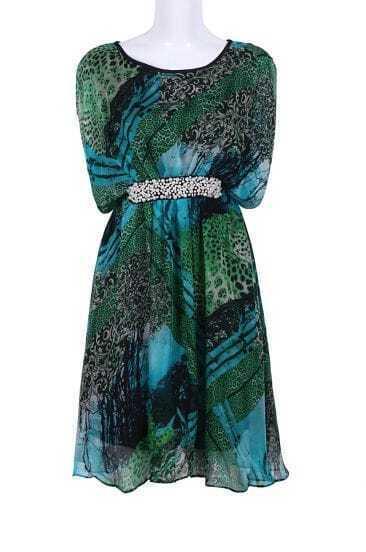 Green Sleeveless Pearls Leopard Silk Dress