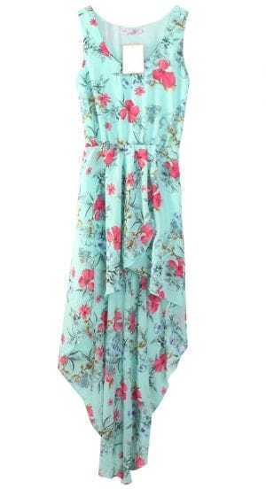 Light Blue Bohemia Floral Sleeveless Chiffon Asymmetrical Dress