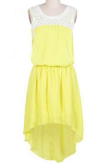 Yellow Sleeveless Rhinestone Lace High Low Dress
