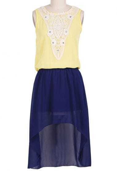 Navy Sleeveless Rhinestone Lace High Low Dress