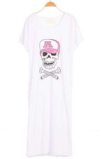 White Short Sleeve Hat Skull Print Dress