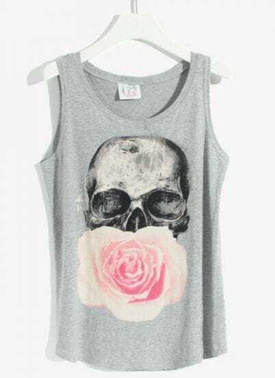 Grey Sleeveless Skull Flower Print Vest