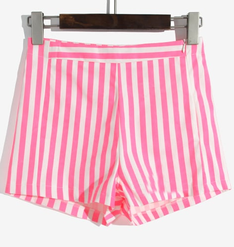Rose Red White Vertical Stripe High Waist Shorts -SheIn(Sheinside)
