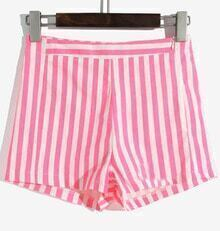 Rose Red White Vertical Stripe High Waist Shorts