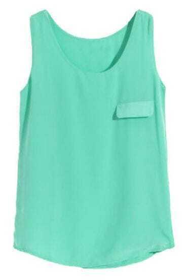 Green Sleeveless Pocket Chiffon Vest