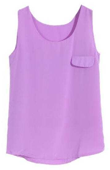 Purple Sleeveless Pocket Chiffon Vest