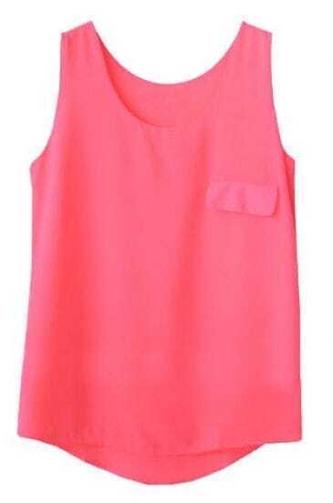 Pink Sleeveless Pocket Chiffon Vest