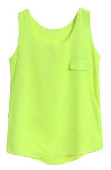Light Green Sleeveless Pocket Chiffon Vest