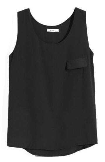 Black Sleeveless Pocket Chiffon Vest