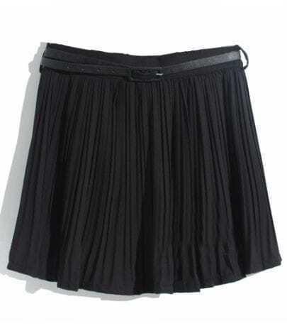 Black Pleated Belt Chiffon Skirt