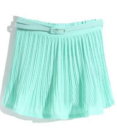 Mint Green Pleated Belt Chiffon Skirt