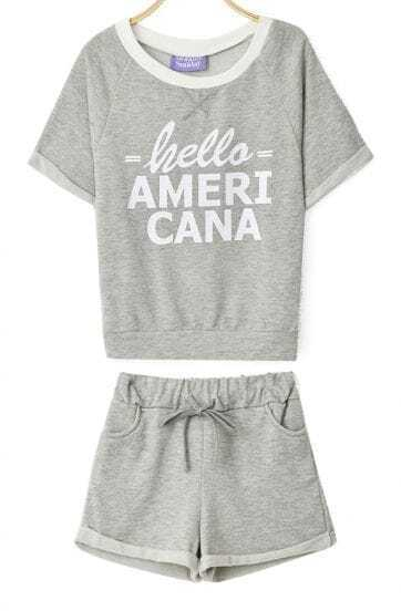 Light Grey Short Sleeve HELLO AMERICA Print Sweatshirt With Shorts