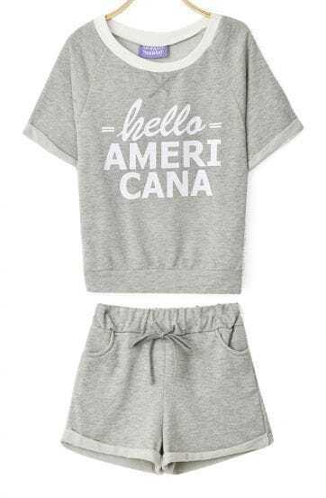 Light Grey Short Sleeve HELLO AMERICA Print Sweatshirt With Shorts