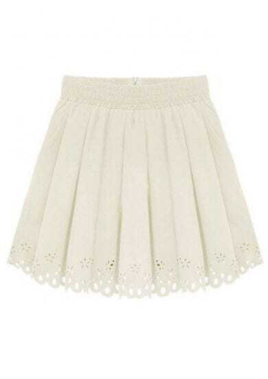 Ivory Elastic Waist Zipper Pleated Skirt