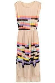 Pink Sleeveless Rainbow Print Striped Sundress