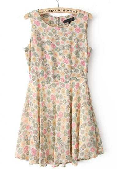 Orange Sleeveless Sunflower Print Buttons Chiffon Dress