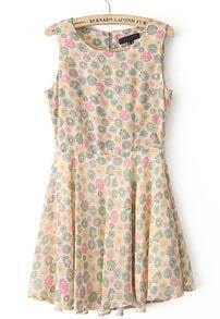 Orange Sleeveless Sunflower Print Buttons Chiffon Dress