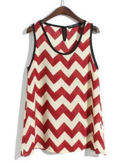 Wine Red White Sleeveless Zigzag Chiffon Vest